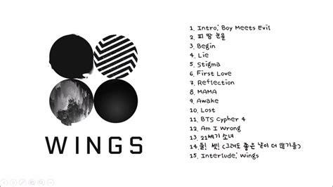 bts full album bts 방탄소년단 wings full album youtube