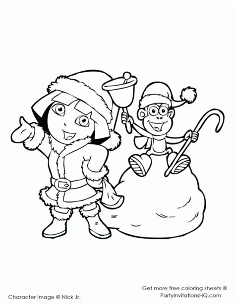 Cute Dora Coloring Pages | dora christmas coloring pages coloring home