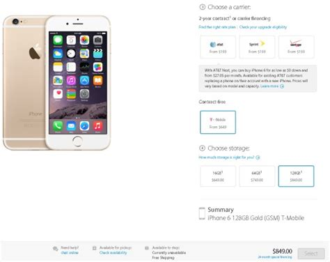 prices usa unlocked iphone 6 price starts at 649 for 16gb model