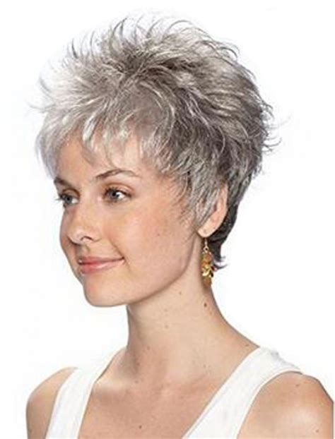 wigsfor old broads tsnomore chic short ash grey shaggy ombre cropped curly wig