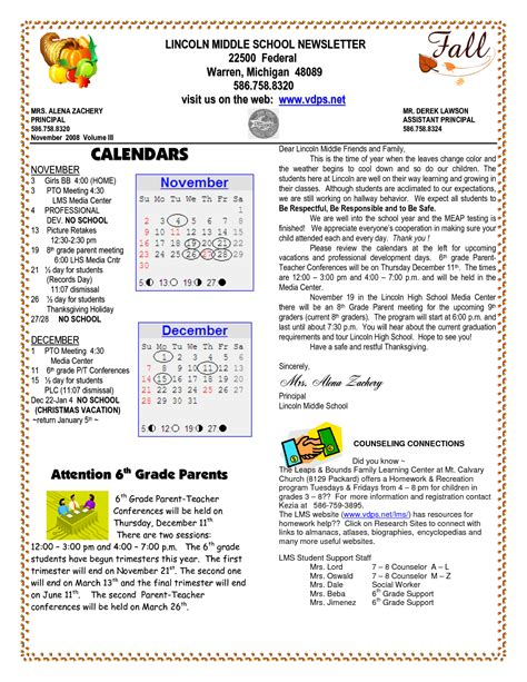 School Newsletter Templates Lincoln Middle School Newsletter Federal Warren Michigan Visit Us Tenant Newsletter Template