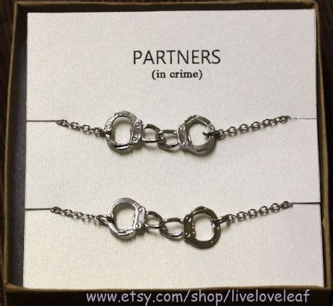 partners in crime matching best friends bracelets silver