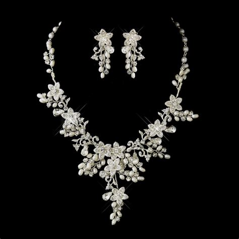 pearl jewelry sets pearl bridal jewelry pearl wedding silver ivory pearl rhinestone floral bridal necklace
