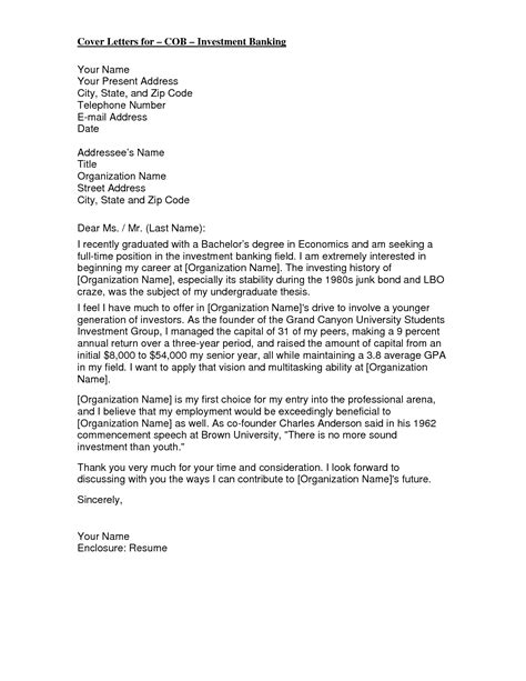Exle Of Cover Letters by Template Investment Banking Cover Letter Cover Letter