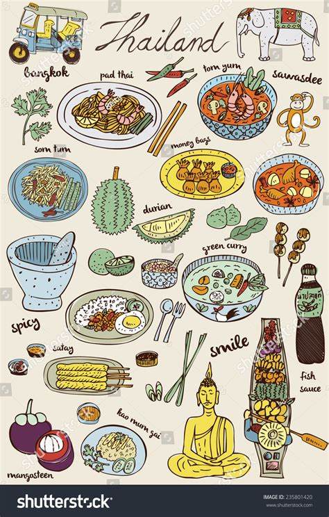 doodle food icons vector doodles thai food icons set vector stock vector 235801420