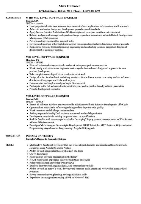 Mid Level Resume by Mid Level Software Engineer Resume Sles Velvet