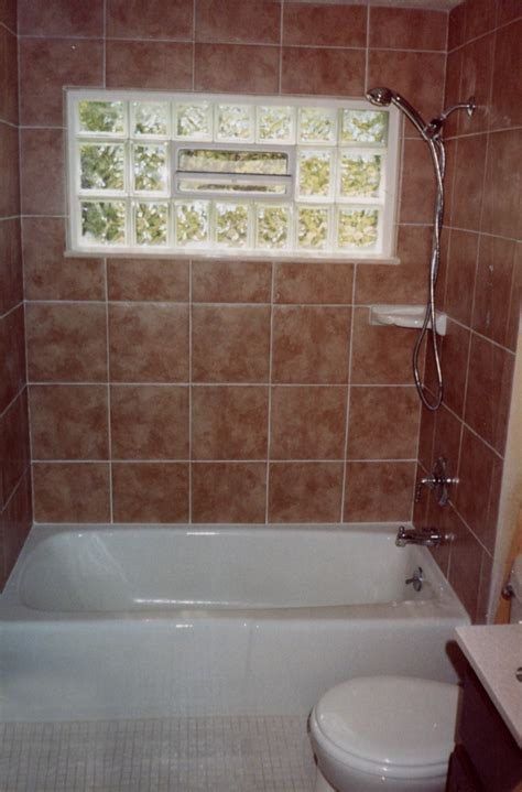 tile walls with glass block window