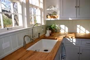 beige reclaimed oak wood countertops for white l shaped