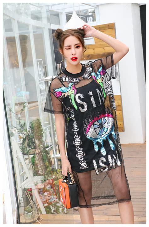 Dress Rajut No Iner aliexpress buy big eye print grid dress see through club dress sequin