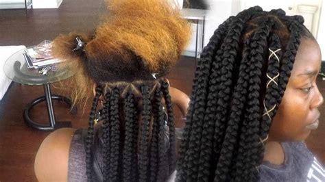 diy spider web jumbo box braids black hair how to tuck colored hair into braiding hair jumbo box