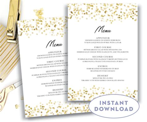 gold wedding menu template 5x7 editable text microsoft word