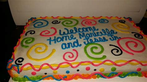 neon welcome home cake cake decorating