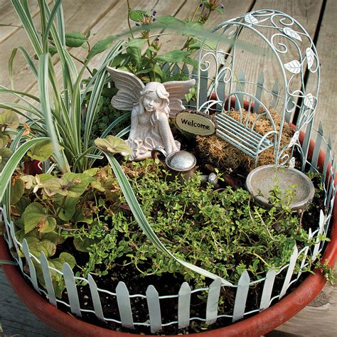 Fairies For Garden Decor New Container Garden Accessory Kit Set Yard Decor Plants Flowers Soil Ebay