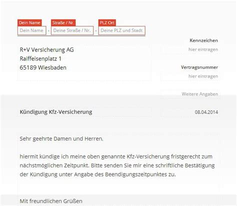 R V Online Kfz Versicherung by R V Kfz Versicherung K 252 Ndigung Vorlage Download Chip