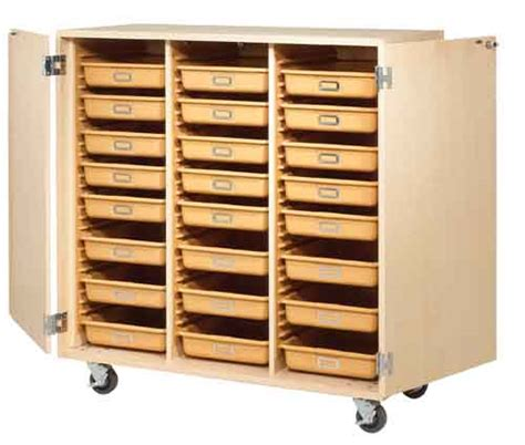 Cabinet Door Storage Trays Mobile Tote Tray Cabinet With 24 Trays Locking Doors Educator S Depot