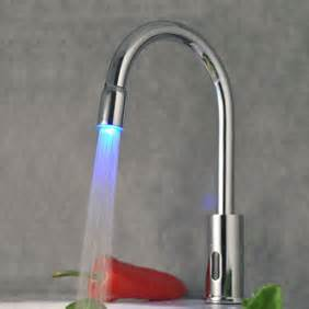 Kitchen Faucet Touchless Contemporary Sensor Tap Automatic Touchless Chrome Led