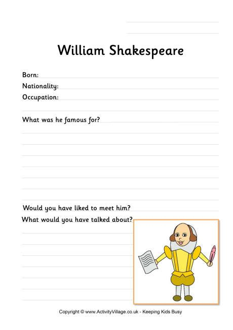 Shakespeare Worksheets by William Shakespeare Worksheet