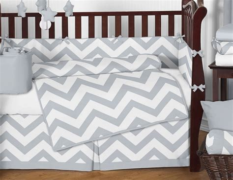 gray chevron bedding sweet jojo designs gray white chevron zigzag baby crib