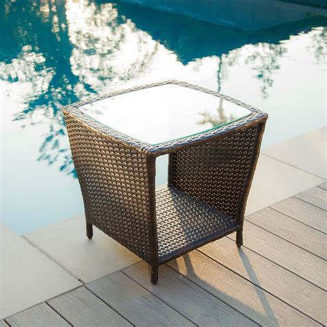 wicker accent table easton outdoor brown wicker accent table great deal