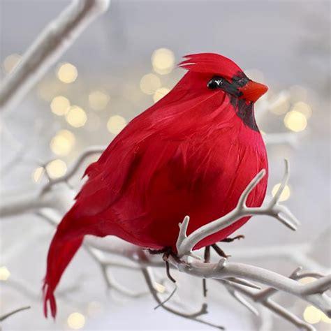 feathered red cardinal xmas ornament plump artificial feathered cardinal birds butterflies basic craft supplies craft supplies