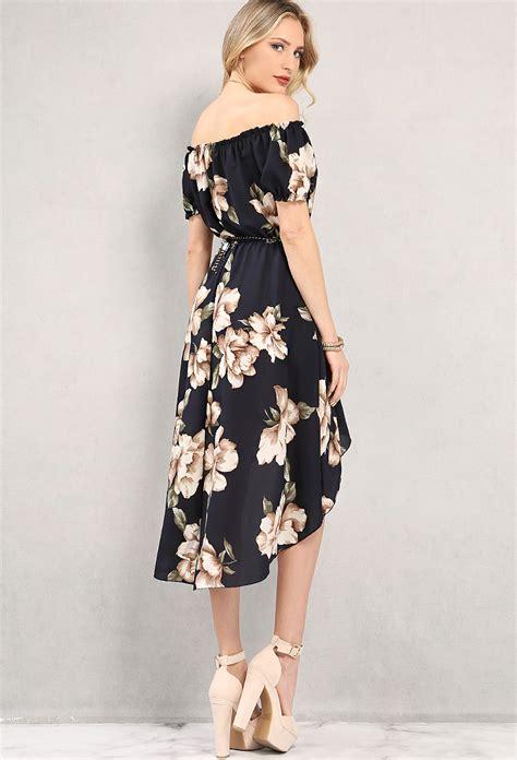 belted high low floral the shoulder dress shop