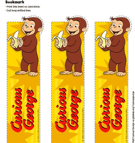printable monkey bookmarks curious george party favors bookmark birthday party