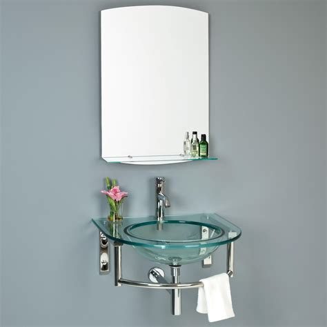wall mount glass sink lowry wall mount glass sink with mirror and shelf half