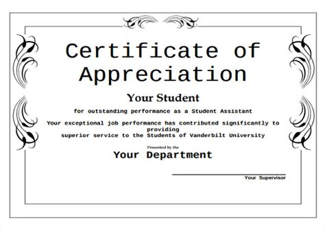 editable certificate of appreciation template sle certificate of appreciation temaplate 12