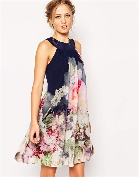 Ryma Maxi Dress By Fa Fashion image 1 of ted baker swing dress in ombre peony print