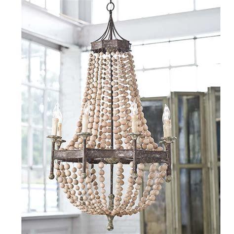 wood bead chandelier pottery barn candelabra andrew scalloped wood bead chandelier