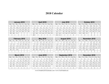 printable calendar week beginning monday printable 2018 calendar on one page horizontal week