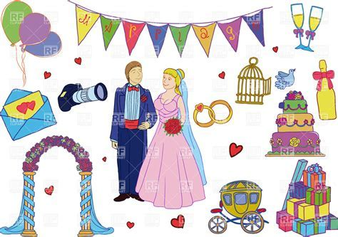 Simple cartoon wedding decorations and bride with groom