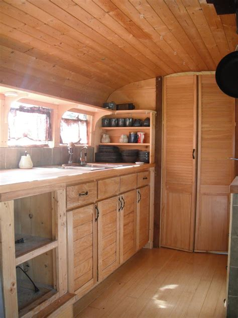 home wood kitchen design katherine lives happily in a converted school bus with her