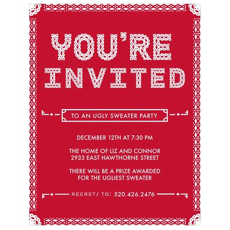 Come With Me Sweater Ae Invites by Particular Pattern Invitations Pear Tree