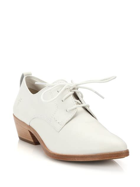 frye oxford shoes frye reese leather oxford shoes in white lyst