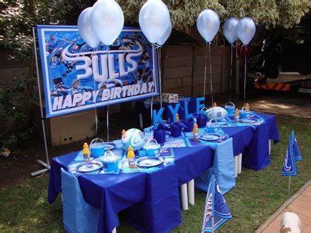 Pin by estele stoltz on !!Blue Bull Rugby Theme!!   Table