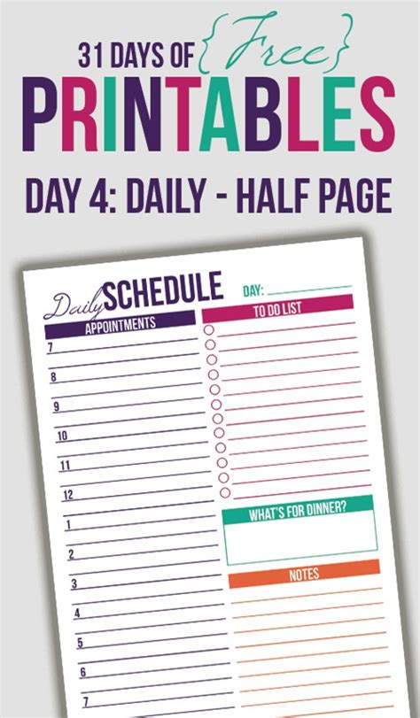 free printable daily schedule pages half letter size daily printable day 4 i heart planners