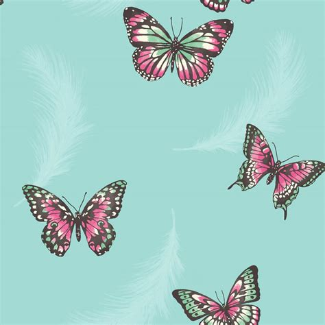 Butterfly P bedroom butterfly wallpaper in pink white teal