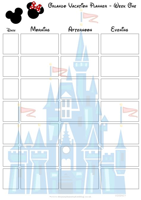 printable disney day planner orlando walt disney world vacation planner free printable
