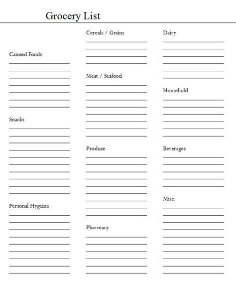 blank shopping list template foods recipes grocery list