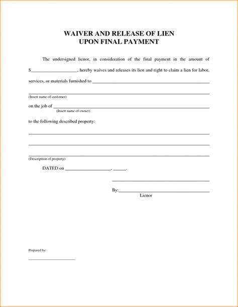 release of lien form lien release form latter day waiver template progress