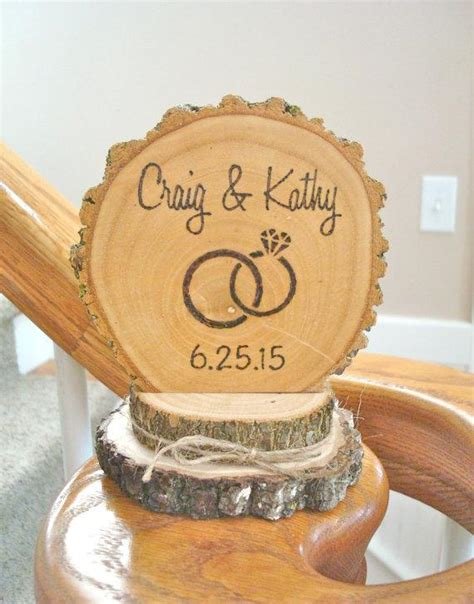 Wood Cake Topper rustic wedding cake topper wood wedding ring personalized