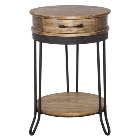 comodino legno comodino tondo in legno di betulla con gambe in ferro