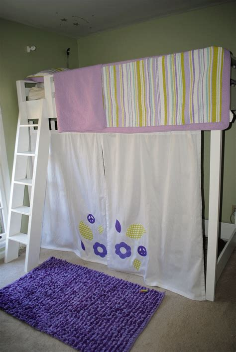 loft bed curtain ana white girls twin loft bed with curtain diy projects