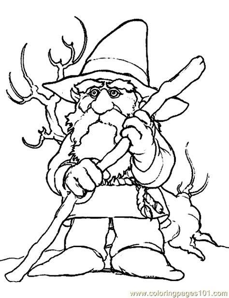 Dwarf Gnome Coloring Page 06 Coloring Page   Free Fantasy