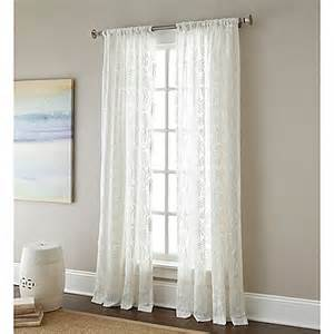 63 Inch Curtains Buy Leaves 63 Inch Rod Pocket Embroidered Sheer Window Curtain Panel From Bed Bath Beyond