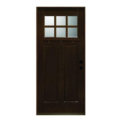 Solid Wood Doors Exterior Door 36 In X 80 In Craftsman Collection 6 Lite Prefinished Antique Mahogany Type Solid