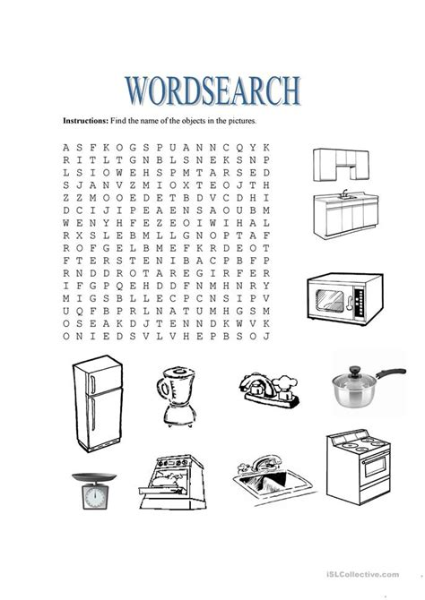 free house search kitchen vocabulary wordsearch worksheet free esl