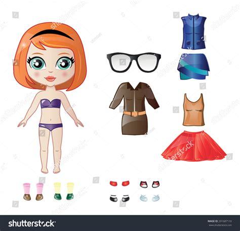 paper dress up dolls template beautiful vector dress paper doll stock vector