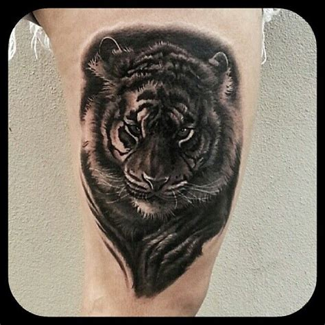 ames tattoo black and grey realistic tiger by merrick ames